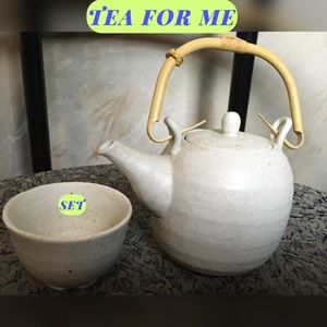 VINTAGE READY TO SIP TEA SET/BAMBOO HANDLE